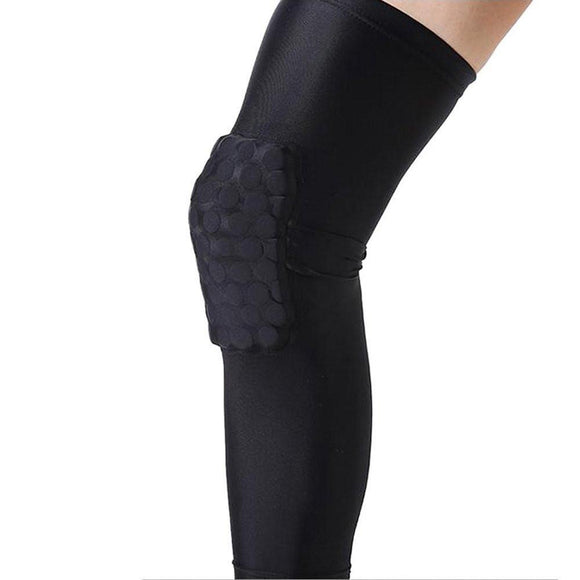 Unisex Extended Compression Kneepad Crashproof Antislip Basketball Sport Leg Sleeve with Hexpad Protective Pad (Black, M)