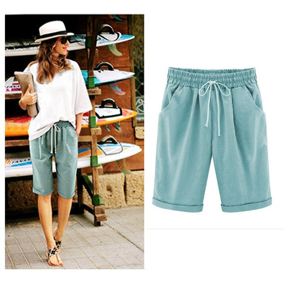 Women's clothing Summer Pants Leisure Travel 5 Point Pants Thin Medium Pants Elastic Waist Solid Color Wild Match Short Pants