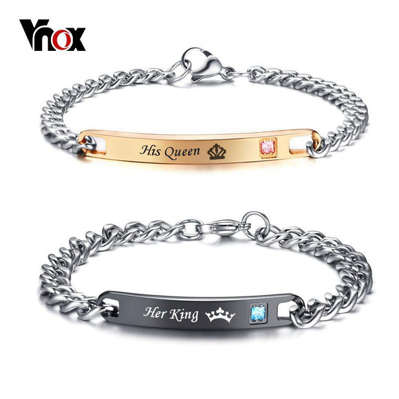 Vnox His and Her Matching Set Couple Bracelet Stainless Steel His Queen Her King Promise Love Bracelets Gift