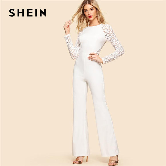 SHEIN White Elegant Contrast Lace Insert Long Raglan Sleeve Round Neck High Waist Skinny Jumpsuit Summer Women Party Jumpsuit
