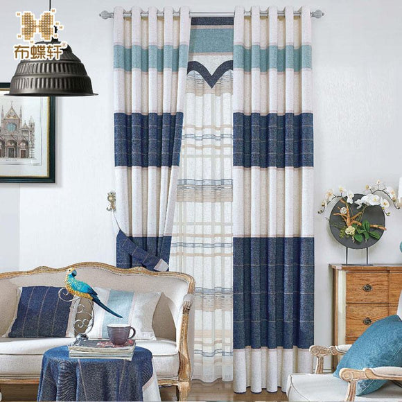 New Arrival North European Style Striped Denim Blue Drapes Blackout Blinds Window Curtains for Living Room Luxurious Study Room