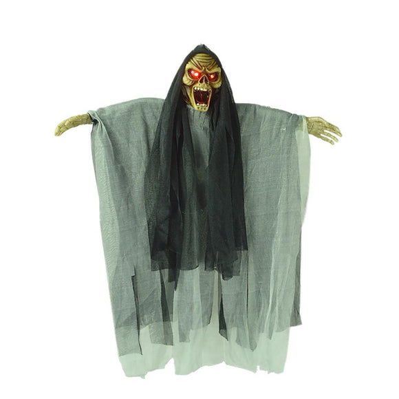 Hanging Ghost Halloween Decorations Novelty Electric Scary Skeleton Ghost Witch with Sound and Flashing Eyes for Haunted House Party Horror Theme Bar
