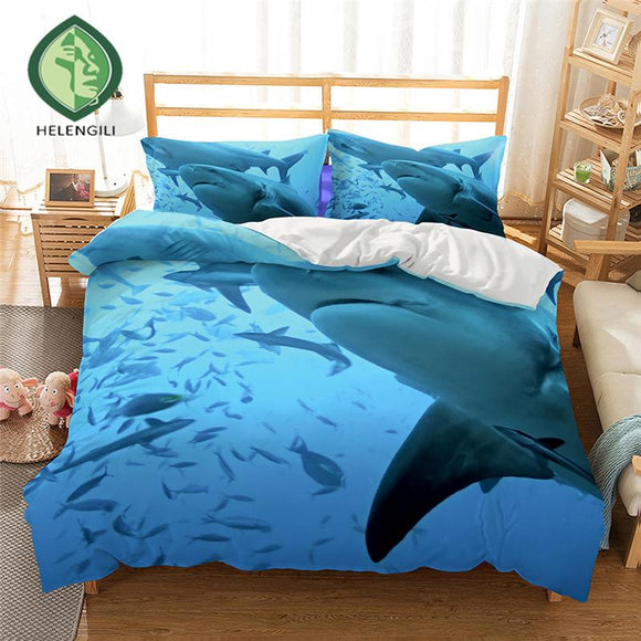 HELENGILI 3D Bedding set Shark Print Duvet cover set lifelike bedclothes with pillowcase bed set home Textiles #2-04