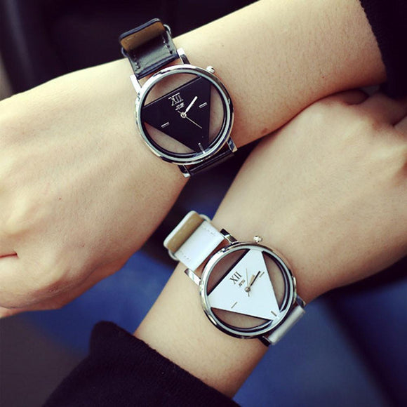 Couple Watch 2PCS Unique Hollowed-out Triangular Dial Black Lovers Fashion Watch Watches reloj mujer 2016 Feida