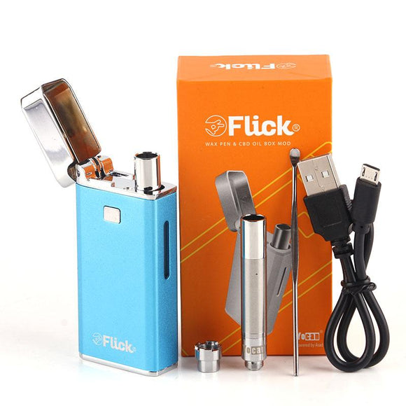 Original Yocan Flick 2 in 1 Kit thick Oil wax atomizer Vaporizer 650mah Battery quartz coil ego thread Electronic Cigarette mod