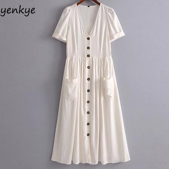 Solid Color Summer Dress 2018 Women Button Decoration Linen Dress Sexy V Neck Short Sleeve Big Pockets A-line Midi Casual Dress