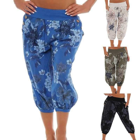 Laamei Women Spring and Summer Fashion Linen Harem Pants Baggy Loose Trousers Plus Size Floral Print Casual Wide leg Pants