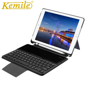Kemile Case For New Ipad 2018 Wireless Bluetooth 3.0 Keyboard W Pencil Holder Auto Sleep Wake Case For ipad 2018 9.7 A1893 A1954