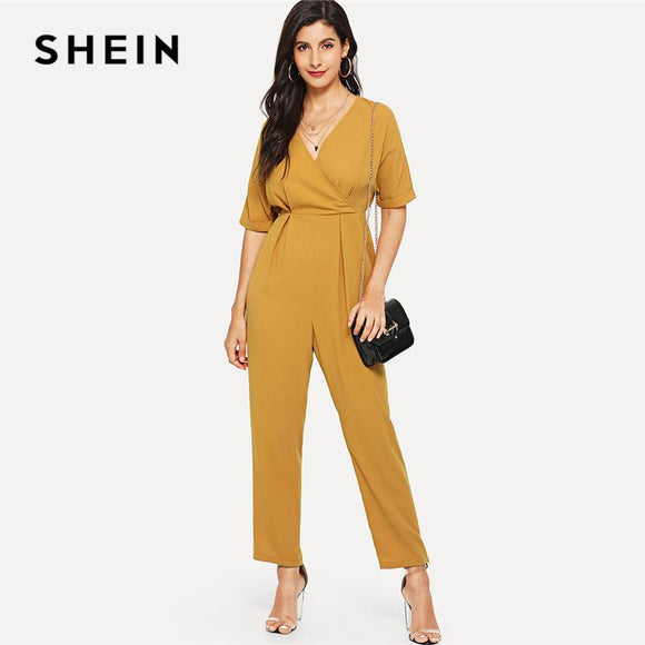 SHEIN Wrap Front Fold Pleat Jumpsuit Yellow V neck Half Sleeve High Waist Long Jumpsuit Women Summer Plain Elegant Jumpsuits
