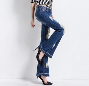 New women wide leg jeans female hole long pants trousers plus size