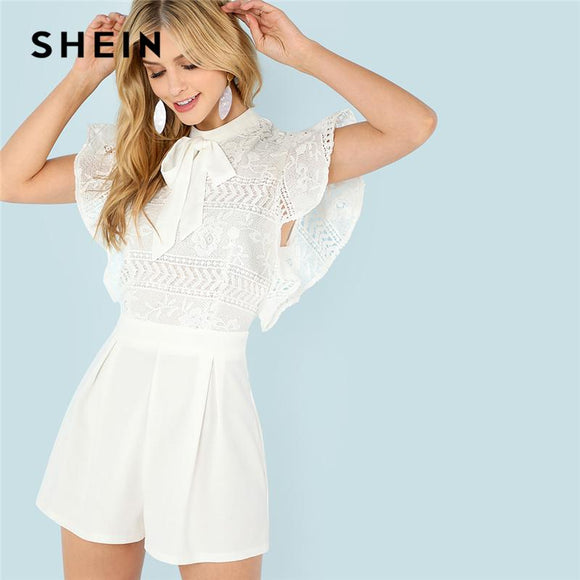 SHEIN White Elegant Office Lady Minimalist Workwear Cut Out Flutter Sleeve Pleated Tie Neck Romper Summer Women Casual Jumpsuit