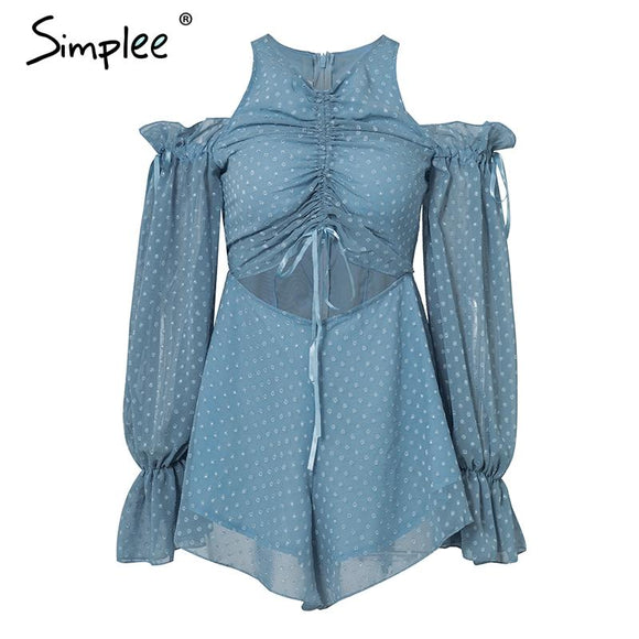 Simplee Cold shoulder lace up sexy rompers women Hollow out ruffle sleeve high waist short jumpsuit Mesh summer overalls 2018