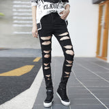 Women Personality Washed Jeans Long Pants For Women 2017 New Autumn Fashion Hollow Out Street Black Pencil Pants Trousers Ladies