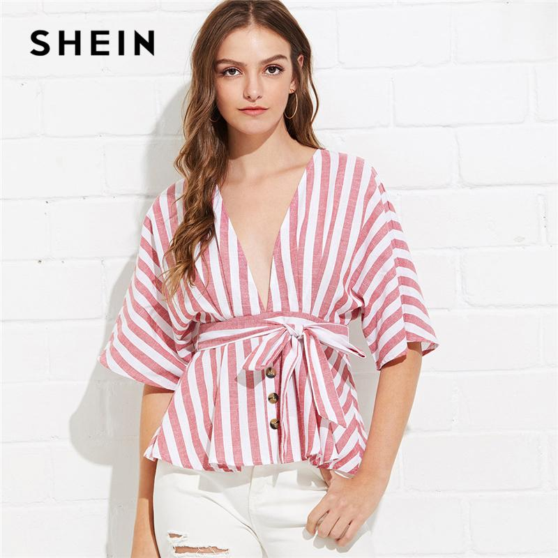 71bf6b03fcd187 SHEIN Red Striped Deep V Neck Button Front Blouse Bohemian Vacation Holiday Wrap  Top Women Summer ...