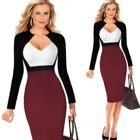 Women Elegant Optical Illusion Patchwork Long sleeve Dress Suit Casual Work Office Business Party Bodycon Pencil Dress Suit