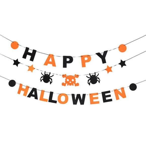 Non-Woven Fabric Happy Halloween Bunting Banner Hanging Flags for Halloween Decoration Ornament Bar Party Supplies