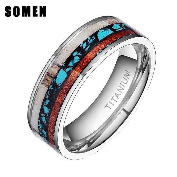 8mm Vintage Wood Antlers Inlay Titanium Ring Engagement Rings For Women Men Wedding Band Fashion Love Ring Jewelry anillos mujer