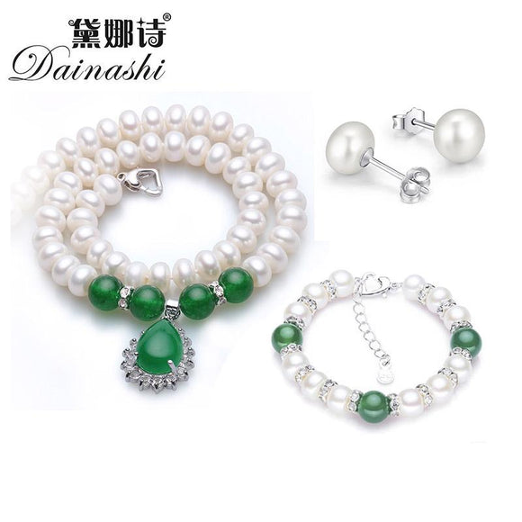 Dainashi new large natural 9-10 mm necklace women's earrings and bracelet sets with freshwater pearl green agate for women