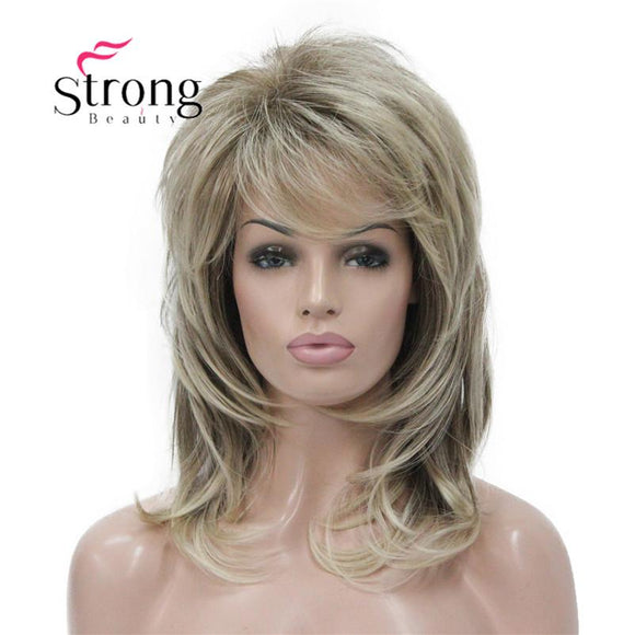 StrongBeauty Long Shaggy Layered Ombre Blonde Classic Cap Full Synthetic Wig Women's Wigs COLOUR CHOICES