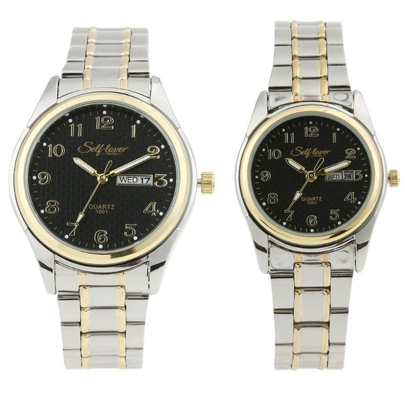TOP Brand Fashion Lovers Watches  Gold Strip Alloy Couple Watch Dress liefhebbers Horloges paarhorloges