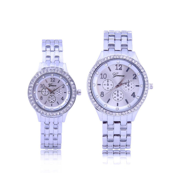 Couples Watches Fashion Lovers Men Women's Date Stainless Steel Band Analog Quartz Wrist Watch Silver Wristwatch #121