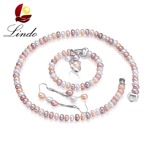 Lindo 4 PCS Real Natural Pearl Jewelry Sets For Women Fashion 925 Sterling Silver Earrings ring Bracelet Necklace Lowest Price