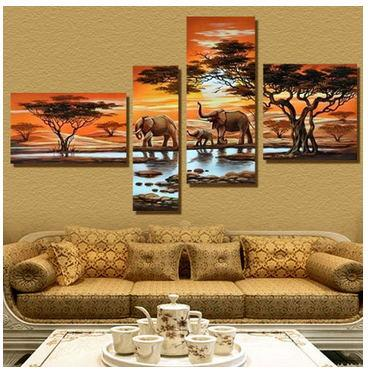 4 Panel Modern Elephant Canvas Painting Canvas Art African Landscape Picture Cuadros Decoracion For Living Room Unframed