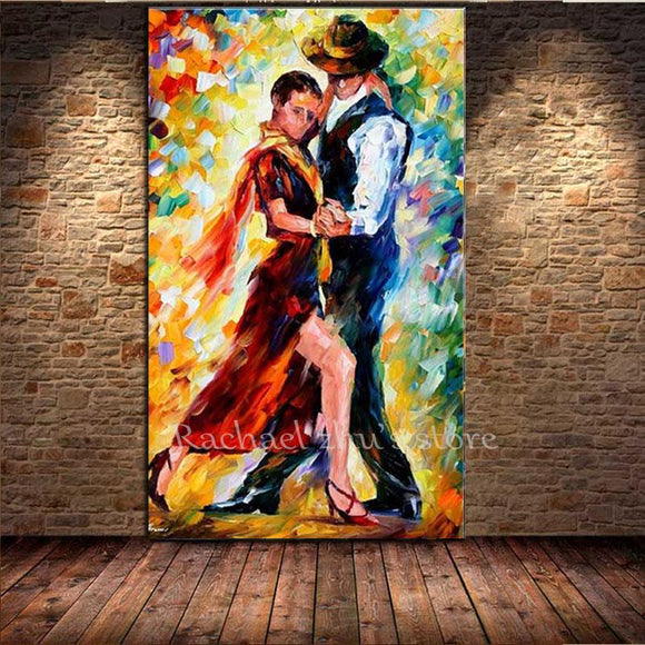 Hand Painted Abstract Couples Play Tango Oil Paintings On Canvas Palette Knife Art Pictures Wall For Living Room Home Decoration