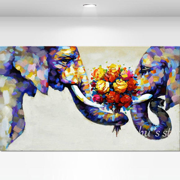 Hand Painted Abstract Elephant Couples Oil Paintings On Canvas Children's Room Wall Art Pictures Wall For Living Room Home Decor