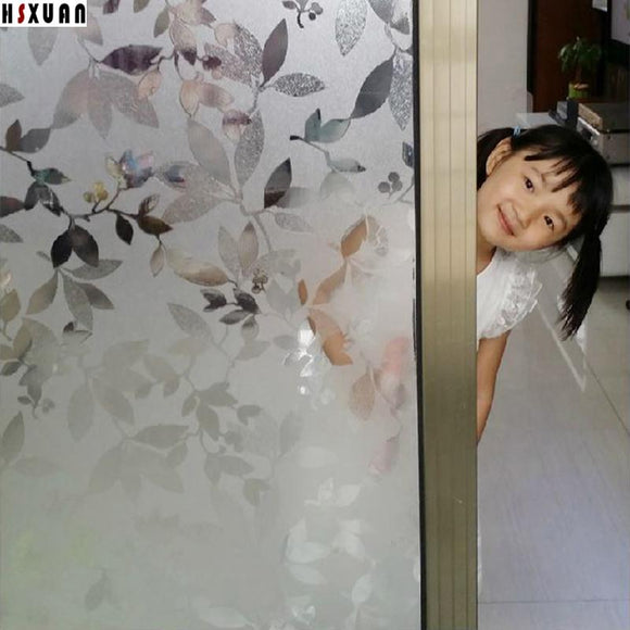 92x100cm leaf printing sliding glass door home decor self Adhesive No glue sunscreen window film cling paper Hsxuan brand 920820