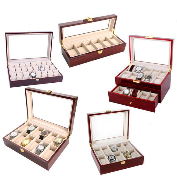 2018 New 6,10,12,20, 24 Grids wooden Jewelry packing case Watch Case Box Casing for Hours Sheath for Hours Box for hours Watch