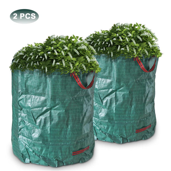 2 PCS 270L Large Garden Waste Bag Collapsible and Reusable Strong Rubbish Sack Waterproof Heavy Duty Gardening Containers Bags for Lawn and Leaf