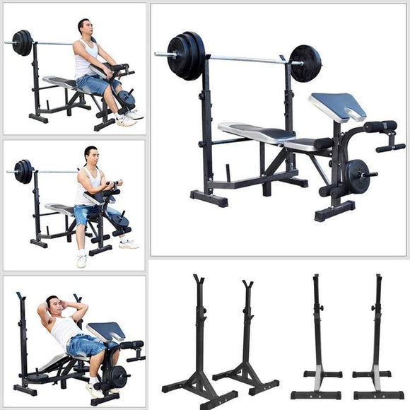 Pair Adjustable Standard Solid Steel Squat Stands Barbell Free Press Bench Rack Weight Lifting Stand Fitness Body Exercise