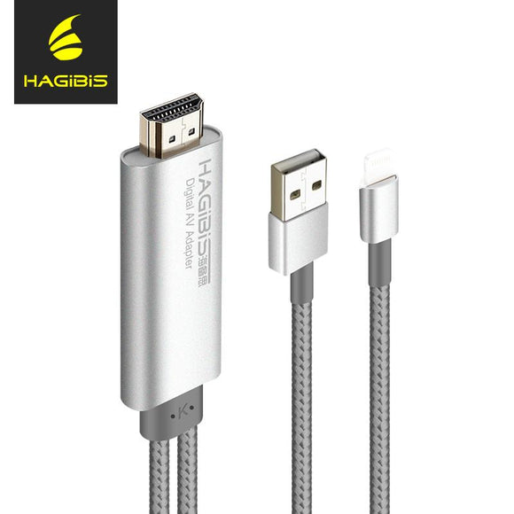Hagibis 2 Meter 1080P HDMI Cable for Mobile Phone Connect TV For Apple For IPhone with HDMI Port Usb Port AV Cable and Connector