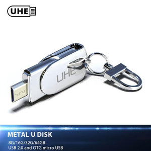 UHE Smart Android phone USB 2.0 Flash drive OTG USB Flash Drive Micro USB Flash Drive Quality Metal U Disk 8GB/16GB/32GB/64GB