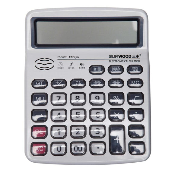SUNWOOD 12 Digits Desktop Calculator Metal Surface Real Voice Electronic Talking Calculator For Office School Home EC-1857