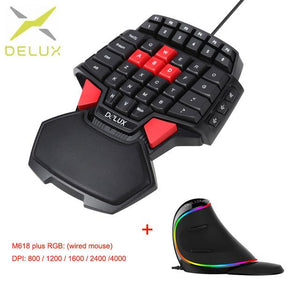 gaming mouse and Mini Wired Gaming Keyboard Double Space Key LED Backlight One/Single Hand Gaming Keyboard T9 mouse 4000DPI