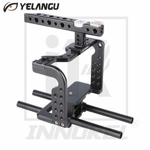 YELANGU Lightweight Aviation Aluminum Alloy CNC Camera Cage Rig Kit Compact Stabilizer Top Handle Grip for Sony DSLR GH5 GH4