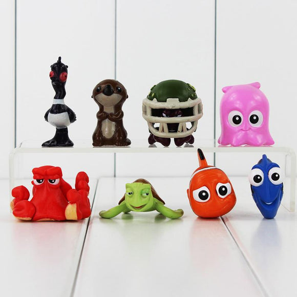 8pcs/lot Finding Nemo Clownfish Finding Nemo  PVC Figure Action Toys Dory Collection Dolls Toy Kids Gifts 2-5cm