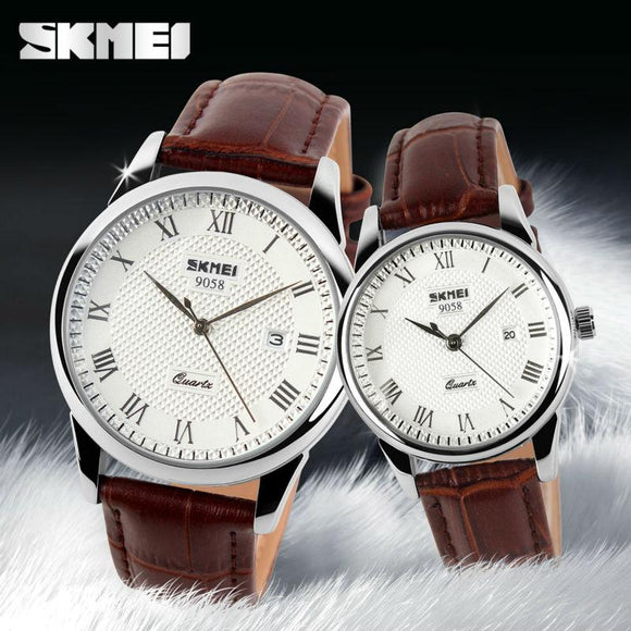 SKMEI Brand Luxury Lovers Quartz Watch Fashion Casual Watches 30m Waterproof Leather For Men Women Dress Wristwatches 9058