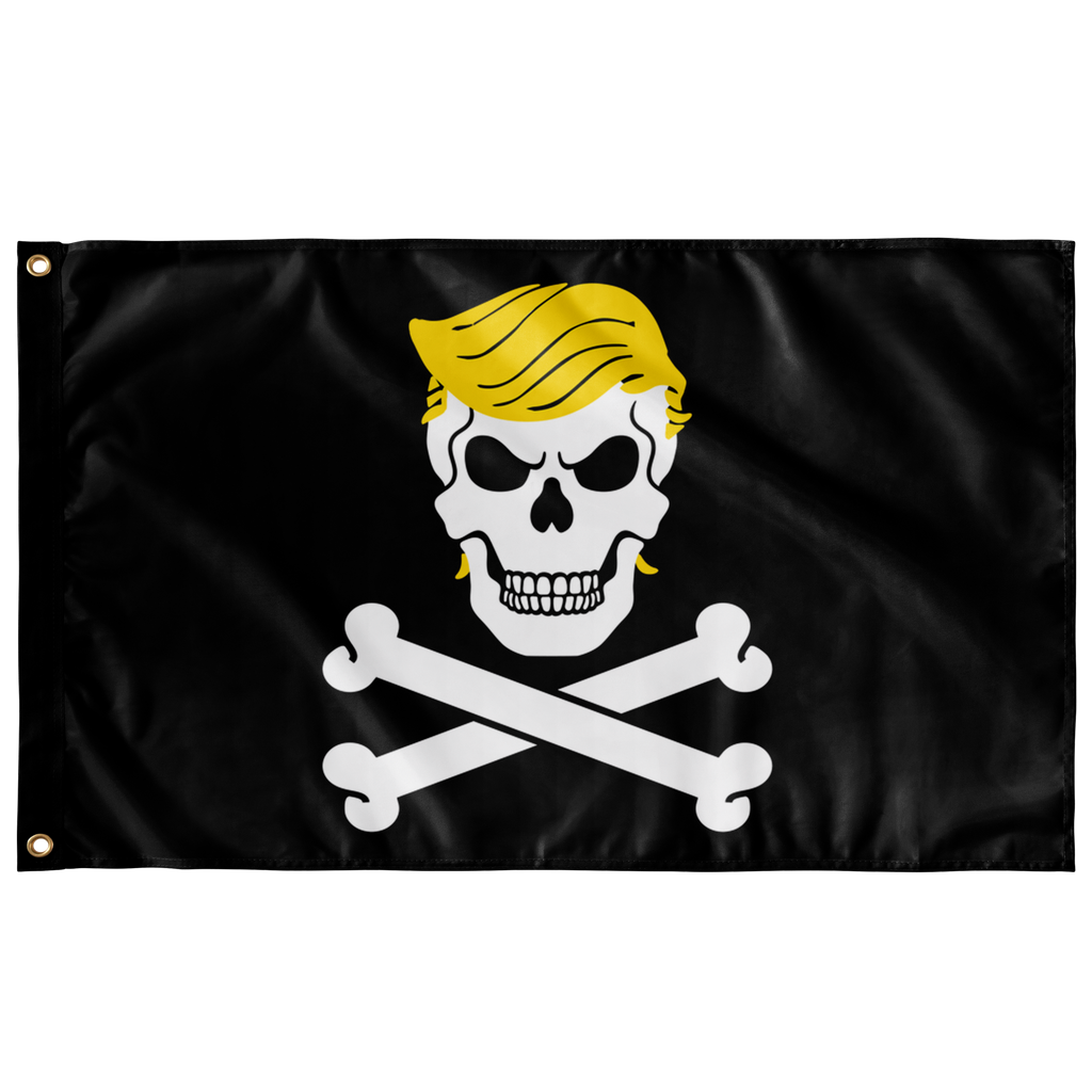 Dread Pirate Trump Protest Flag - Black Skull and Bones Trump Flag