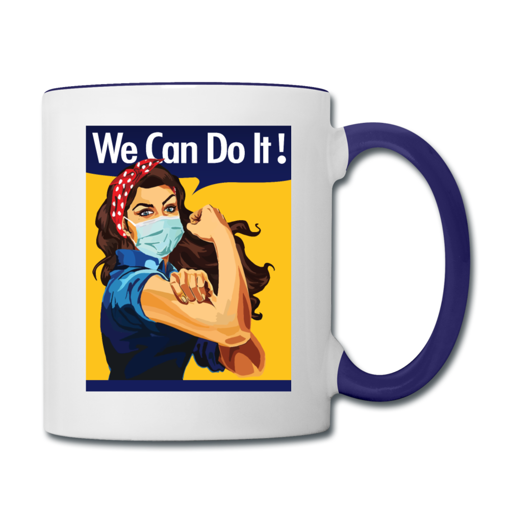 We Can Do It Mask Up Coffee Mug - white/cobalt blue
