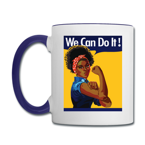 We Can Do It Rosie Riveter BLM Coffee Mug - white/cobalt blue