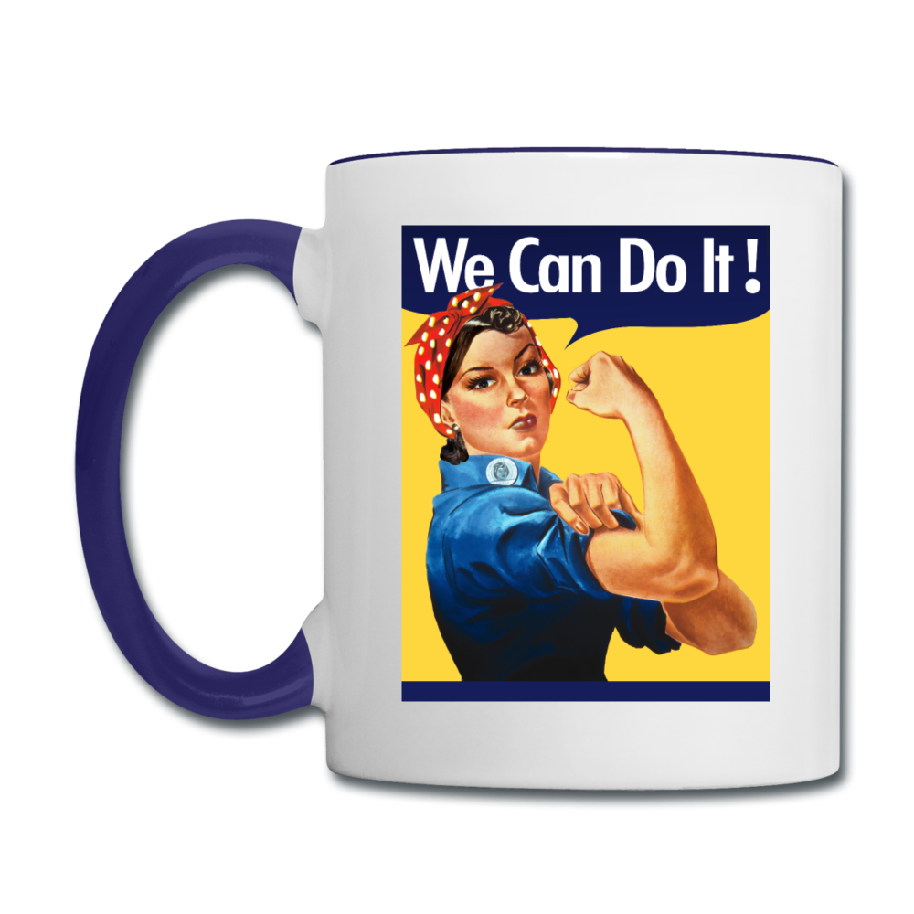 We Can Do It Rosie Riveter Coffee Mug - white/cobalt blue
