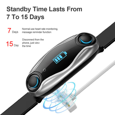 Sport Smart Watch Fitness Bracelet Wireless Bluetooth Earphone 2 In 1