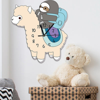 Cartoon Wall Clocks Decor Digital Clock Children Room