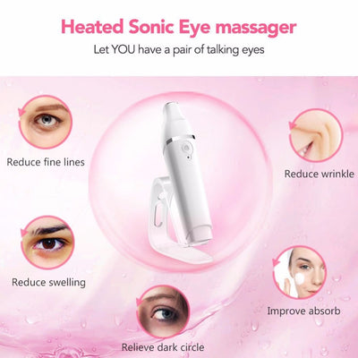 Heated Sonic Eye Massager Wand Rechargeable Anti-Agei