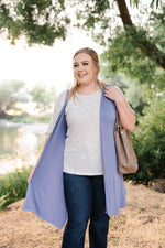 Life Of The Party Sleeveless Cardigan In Periwinkle