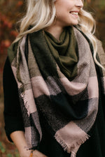 Fill In The Blanks Green, Taupe And Black Blanket Scarf