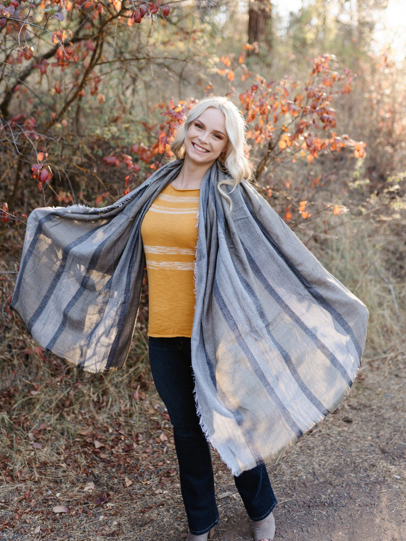 Wrap Me In Fall Tweed Striped Long Scarf